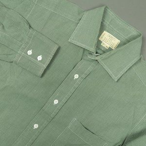 Drakes Green White Grid Check Dress Shirt 15.5 34
